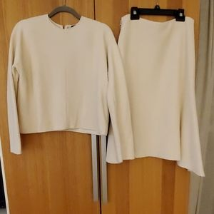 Zara crop shirt and skirt